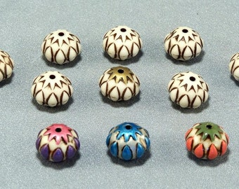 11 Large Bare Blank Polymer Beads // To Be Hand Painted // Brown Outline // 3 Already Painted