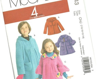 MCCALLS PATTERN M5743 girls fleece fall or winter coat, sizes 7, 8, 10, 12, and 14 new and uncut