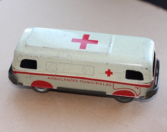 Charles rossignol Tin litho toy car 1940's ambulance CR