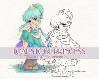 Digital Stamp Toadstool Princess Fairy, Digi Download Mushroom Elf, Coloring Page, Fantasy Girl, Clip Art, Scrapbooking Supplies