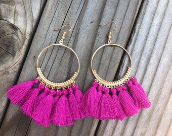 Magenta fringe earrings with gold accents - gold earrings pink earrings pink fringe earrings tassel earrings blue earrings red earrings