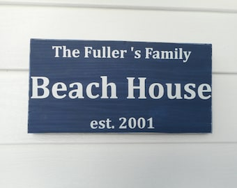 Personalized wood beach house sign / beach decor / nautical sign