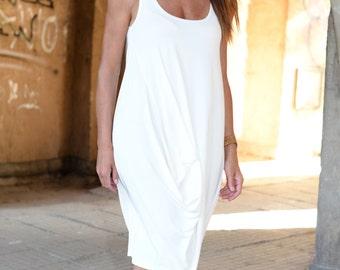 White summer dress, Woman dress, White Maxi Dress, Plus Size Dress by EUG FASHION - DR0172JE