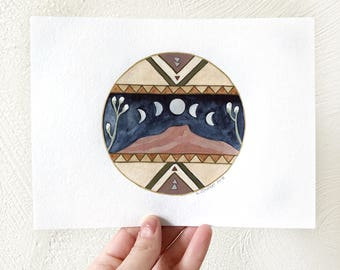 "Watercolor + Gouache Painting, ""Moon Over Pedernal"""