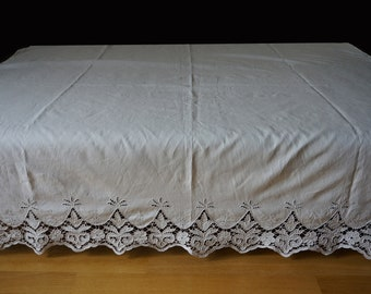 Vintage white linen sheet with cutwork decoration