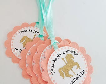 Carousel horse birthday party favor Thank you tags in coral and mint, peach and mint. Carousel party, baby shower, bridal shower.