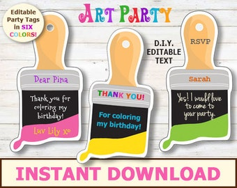 EDITABLE Art Party Tags - Printable party thank you tags. Instant download, editable party favor cards. Children's party, Paint