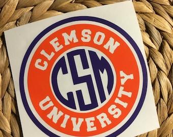 Clemson University Monogrammed Vinyl Decal/Yeti Decal/Car Decal/Laptop Decal