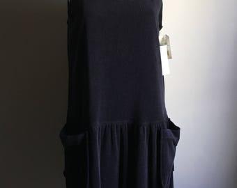 Deadstock 80s Black Terrycloth Tank Dress • Large Black Dress • Classic Style Dress