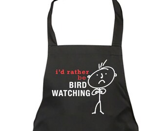 Bird Watching Apron Mens Black I'd Rather Be Bird Watching Apron Fathers Day Birthday Christmas Gift Idea