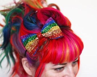 Rainbow Stripe Glitter Bow Headband, Rainbow and Pastel Rainbow