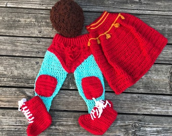 Nacho Libre inspired crochet baby costume - Made to Order