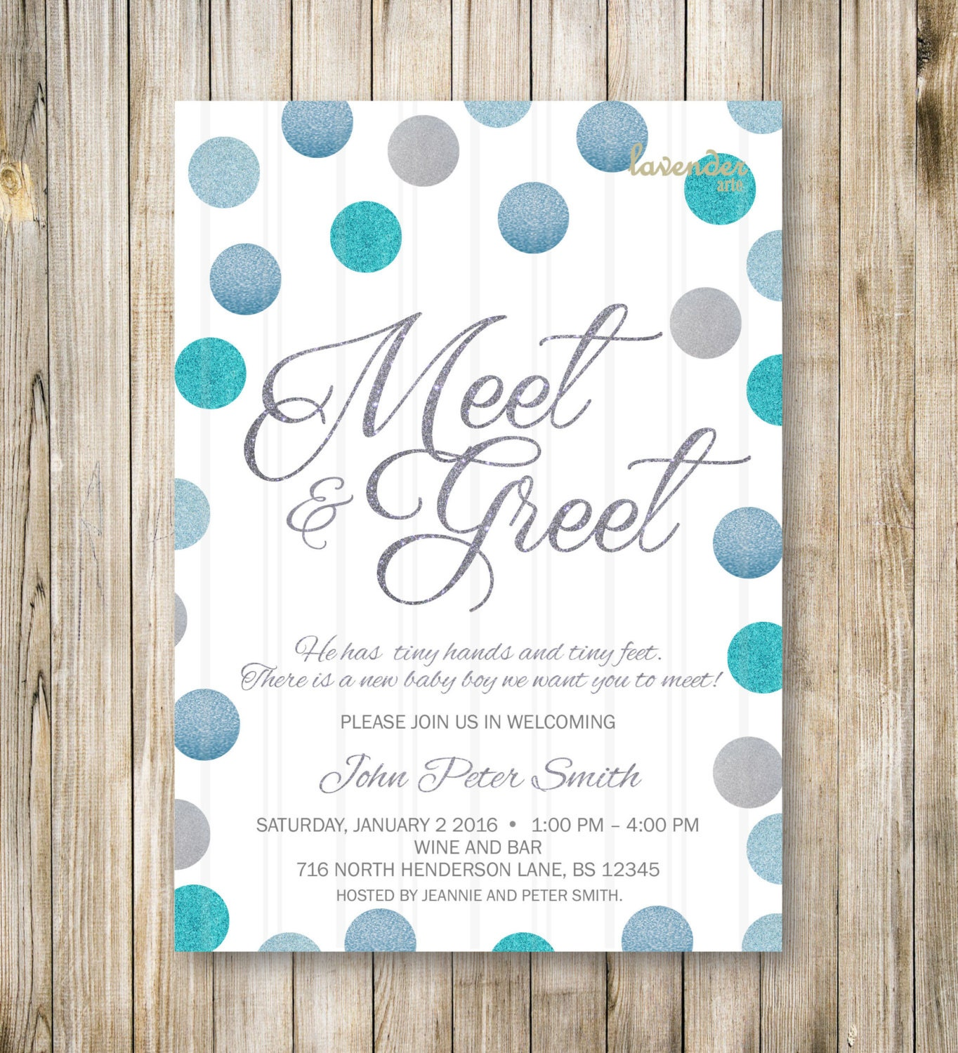 MEET and GREET Invitation Silver Blue Glitters Meet the Baby