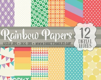 Rainbow Paper, Rainbow Colors Digital Paper, Rainbow Colored 12x12 Craft Papers, High Resolution Paper