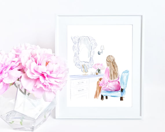 girly girl art, makeup lover, fashion lover, girly art, girly watercolor, fashion art, gifts for her, gifts for mom, selfcare, fashionista