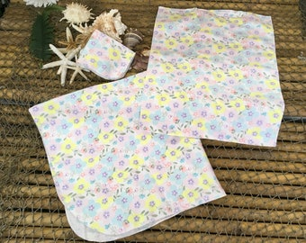 Designer springtime burp cloth, wash cloth and receiving blanket ensemble, set, baby gift, baby shower gift, newborn, infant