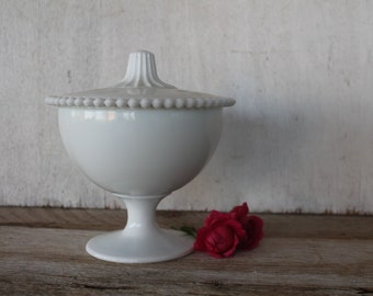 Vintage White Milk Glass Pedestal Covered Dish, Hobnail