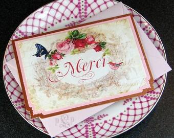 Daveny, Merci Français inspiré Petite Notes plat, lot de 6, Swiss importé, Bordeaux texturé enveloppes incluses
