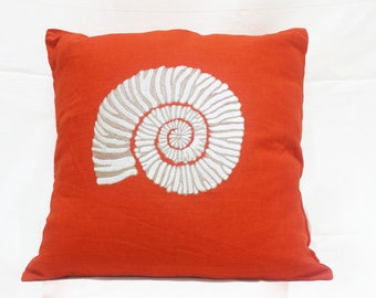 Coral Embroidered Cushion Covers | Decorative Pillow Covers | Couch Pillows