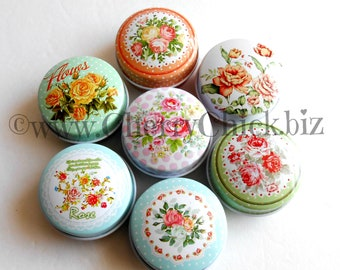 Sewing Tape Measure in Tin - Measuring Tape - Floral Tin - Gift for Quilters - Gift for Seamstress - Sewing Tin - Tapes in Tins - ECS