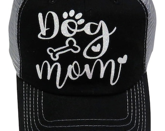 "NEW! White Glitter ""Dog Mom"" Black/Grey Mesh Back Trucker Cap Hat Pet Animal"