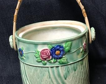 Antique Bisquit Jar Spring Flowers Ceramic with Handle no Lid