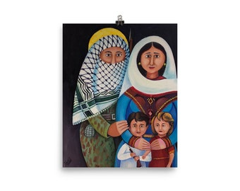 "Matte Print Museum Quality – ""A Family of Refugees"" -- Abstract Middle Eastern Art"