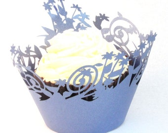 forest blue pearlescent paper cupcake wrapper x 12