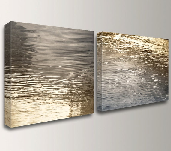"Coastal Wall Art Abstract Beach Art Split Canvas Wall Art Canvas Art Nautical Silver and Gold Wall Decor for Living Room  ""Beckon"""