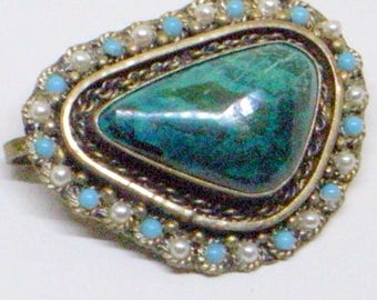 Vintage Eilat Stone PENDANT Brooch - Pearl And Turquoise Pendant Brooch - Israel Sterling Brooch - Green Brooch - Eilat Pendant - Brooch