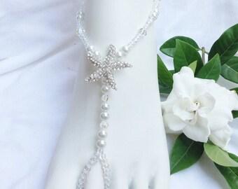 Swarovski Bridal Jewelry Barefoot Sandals Starfish Beach Wedding, Bridal Foot Jewelry,  White Pearls Barefoot Sandals