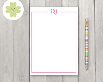 Personalised notepad initials, monogram message pad, custom notepad, personalised stationery, notepad A5