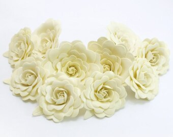 Sweet Creamy Polymer Clay Flowers with leaves, 6 stems