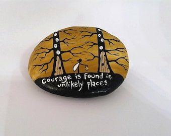 Fairy Stone, Painted Rock, JRRR Tolkien Quote, 'Courage is found in unlikely Places', Motivational Stone