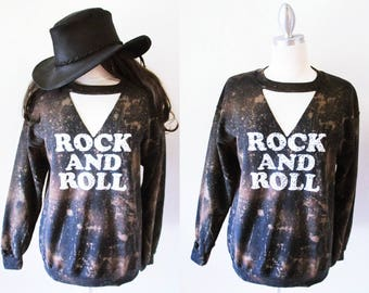 Rock and Roll Bleached Cutting Sweat shirts Medium