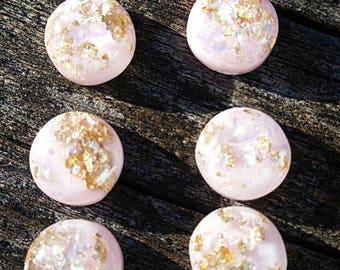 12mm Powder Pink Gold Foil Leaf Cabochon