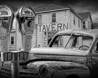 Vintage Ford Auto with Expired Parking Meters and Closed Roadside Tavern No.1756BW A Surreal Fantasy Landscape Photograph