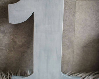 Hand painted Wooden Number 1 for Photo Prop, Cake Smash prop, Photography Props, Photo Decor, Silver Number One, Handpainted Wood Number.