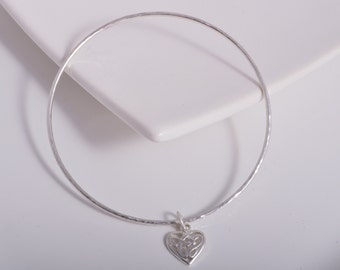 Sterling silver round hammered bangle celtic heart charm 925 silver stacking bangle