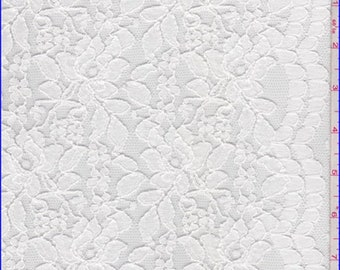 White Floral Scalloped Lace, Fabric By The Yard