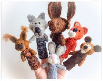 Finger puppets Forest Animals/puppet wool has forest animals fingers