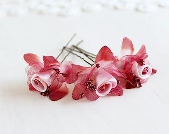 Marsala Flower Hair Pins, Silk Bridal Clips, Deep Red Hair Pins, Small Wedding Clips, Burgundy Flower Pins, Boho Bobby Pins, Hair Pins Set