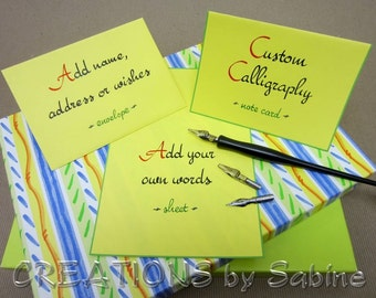 Custom Calligraphy, Handwritten Note Card or Sheet with Envelope, Yellow Personalized Original Art / Greeting Card / Custom Card Order