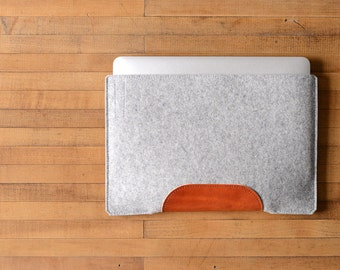 MacBook Air Sleeve - Grey Felt and Brown Leather - Long Side Opening
