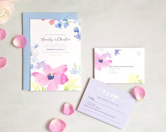 Spring Blooms Wedding Invitation and RSVP