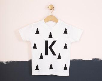 Personalised Kids Christmas Tree Woodland Tshirt - Kid Christmas Clothing - Custom Clothing - Kids Clothing - Woodland Nursery