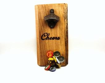 wall mount bottle opener cast iron magnet cap catcher cheers maple