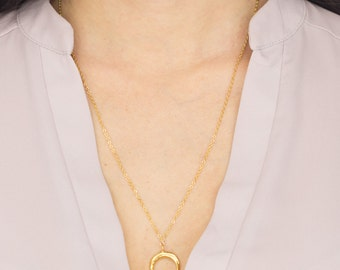 Gold Crescent Moon Necklace, Gold Vermeil Jewelry, Minimalist Jewelry, Layering Necklace, Moon Pendant, Gold Charm Necklace, Gift for Her