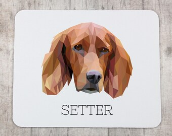 A computer mouse pad with a Setter dog. A new collection with the geometric dog