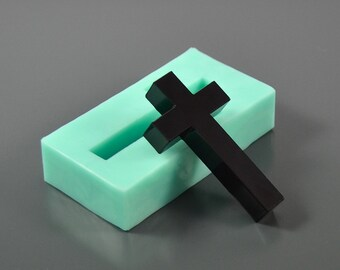 Flat Cross mold 27 x 50x 8 mm silicone mold - Form for making pendants, necklace, Interior design - Mould for epoxy resin, polymer clay